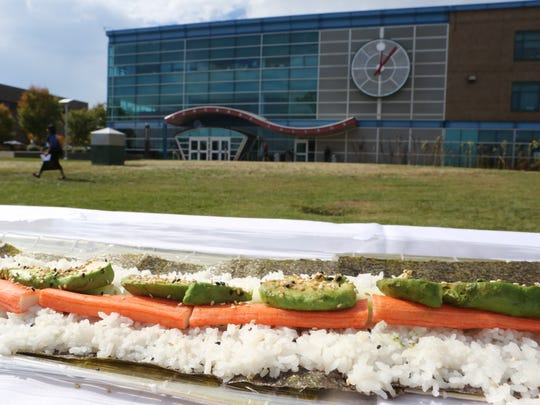 A portion of the 504 foot California roll constructed