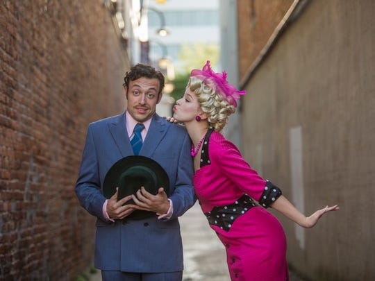 """""""I have so many things to do before we elope,"""" says Miss Adelaide (Jeanne  Schwenck) to Nathan Detroit (Sean Watkinson) in """"Guys and Dolls"""""""