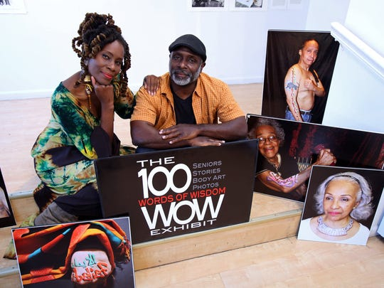 "2017 Arts Alive grant recipients Katori Walker and Evan Bishop, the artists behind ""The 100 Words of Wisdom Exhibit,"" asked more than 100 seniors to share their single words of wisdom with their grandchildren and then painted the words on the seniors and then photographed each one. The resulting exhibit was held in Yonkers in late October."