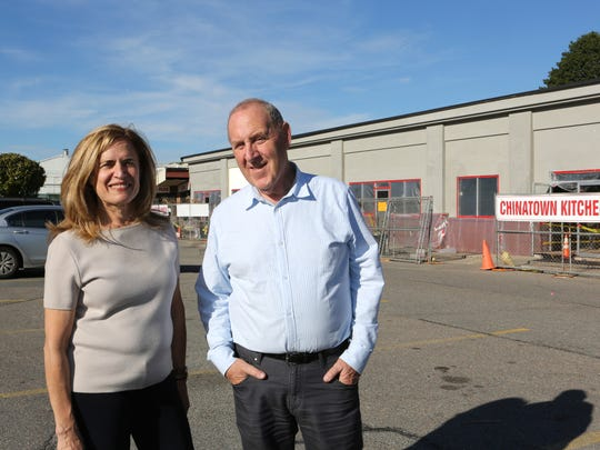 Joanne Landau and Fred Schwalb, owners of Blue Mountain Plaza, oversee the facelift and renovation of the shopping plaza in Peekskill Oct. 19, 2017 which has been in the family for three generations.
