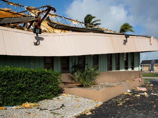 Damage from Hurricane Irma can be seen at the Marco