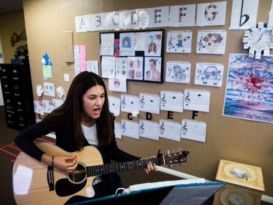 Alexis Anand, 13, practices during a voice lesson on Friday, October 20, 2017, in Fort Myers. She will be performing with Camp Broadway at the 91st annual Macy's Thanksgiving Day Parade in New York City.