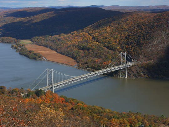 The Bear Mountain Bridge is nestled between Anthony's Nose, a 900-foot peak on the east side of the Hudson, and Bear Mountain on the west.