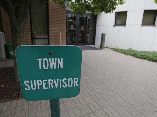 Parking signs for the Ramapo Town Supervisor at the Ramapo Town Hall in Airmont on May. 22, after the conviction of Christopher St. Lawrence hon 20 out of 22 counts corruption charges.