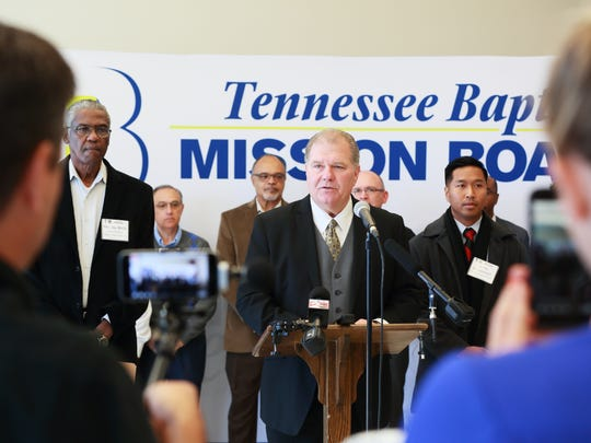 Randy C. Davis, center, president and executive director of the Tennessee Baptist Mission Board, speaks during a press conference held Oct. 25 at the Church Support Center. Davis was joined by an ethnically diverse group of pastors from across the state. Also speaking during the conference was Jay Wells, left, pastor emeritus of Simeon Baptist Church, Antioch, and Thi Mitsamphanh, right, pastor of International Christian Church, Smyrna.