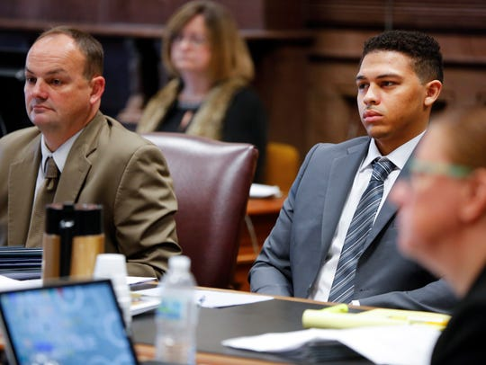 """Jorge """"Lumni"""" Sanders-Galvez, right, stands trial for"""