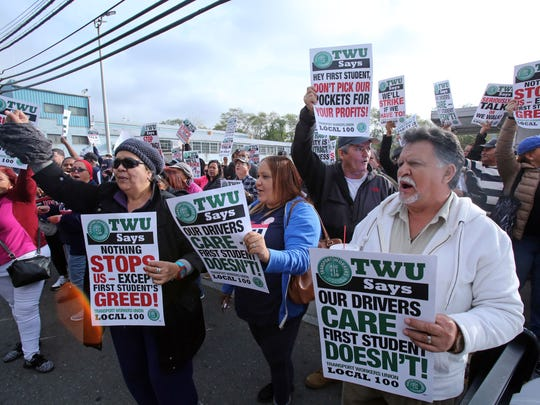 First Mile Square bus workers threaten a strike Nov. 2, 2017 at the bus depot in Yonkers. The company buses students in Yonkers, Mount Vernon, New Rochelle and Mamaroneck. Workers say if a contract is not agreed on by Monday, Nov. 6, they will strike.