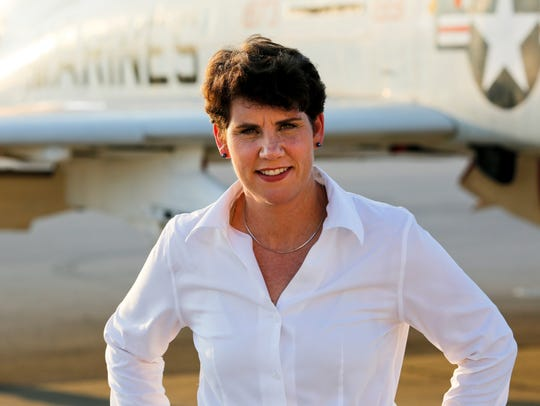 Retired Lt. Col. Amy McGrath, a former fighter pilot,