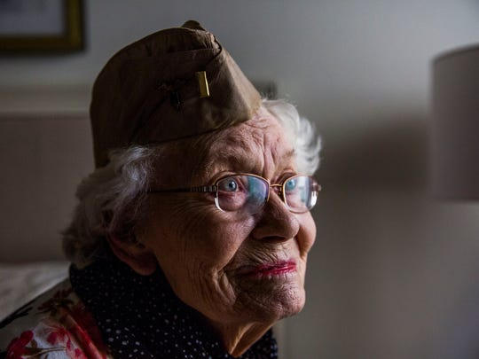 MaryAnn Kylander Sholtis, 94, in her Estero home on Thursday, Nov. 9, 2017. Sholtis served in the U.S. Army as a 2nd Lieutenant during World War II.