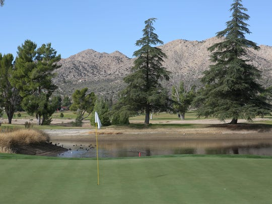 The green on the 11th hole Hawk's Landing Golf Course in Yucca Valley.