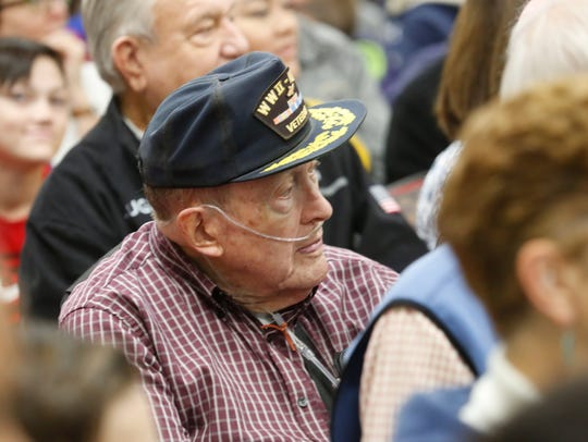 Ward Miller of LaGrange, a Air Corp veteran in WWII then a Army veteran in Korea at the Union Vale Middle School in Lagrangeville Veterans Day event on Nov. 9, 2017.