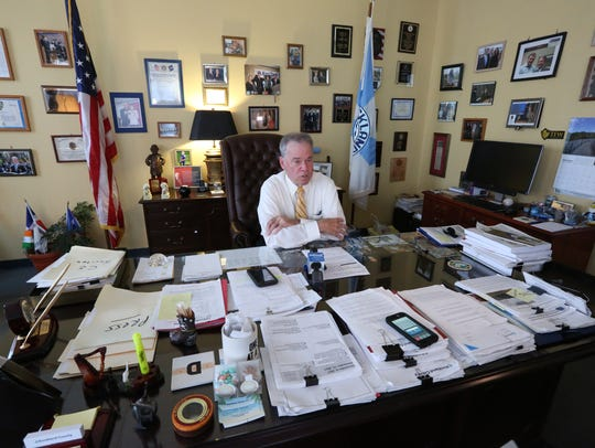 Rockland County Executive Ed Day talks in his office