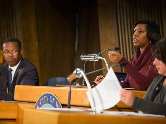 Wilmington Community Development & Urban Planning Committee Chair Rysheema Dixon opens a meeting of the committee in Wilmington.