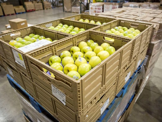 Boxes of produce are gathered at Second Harvest Food Bank of East Central indiana.