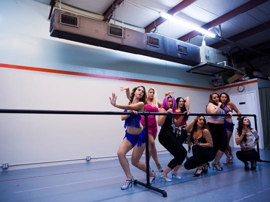 The Glam! Bam! Burlesque! troupe practices a group routine during rehearsal on Sunday, November 5, 2017 at the Flanagan O'hare dance studio in Naples.