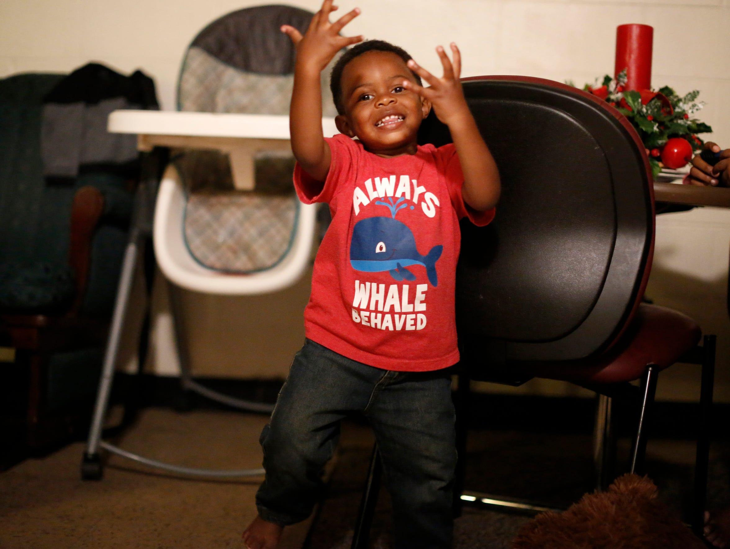 Porsche Robinson's son Bentley, 2, shows off his dance