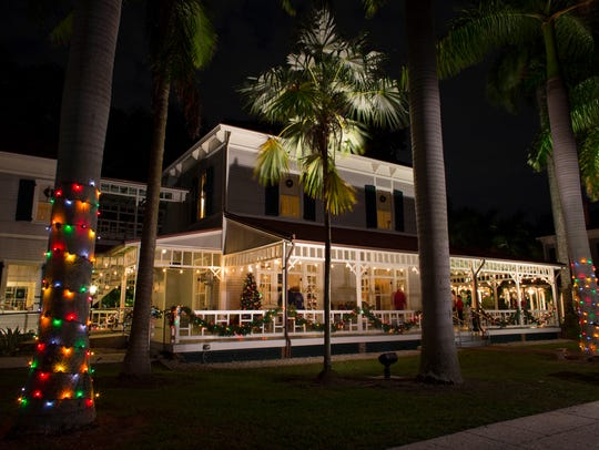 This file photo shows the Edison & Ford Winter Estates decorated for its annual Holiday Nights celebration