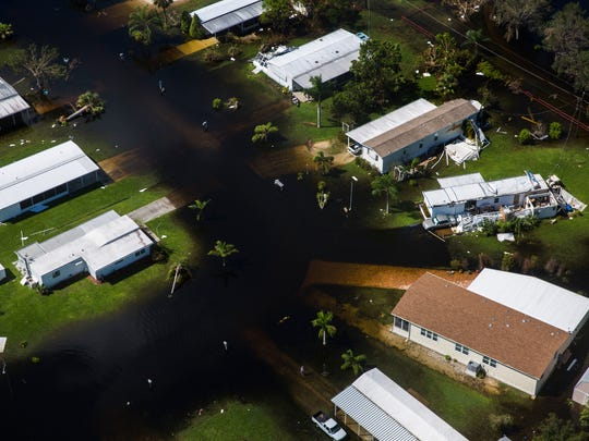 Aerial view of Imperial Bonita Estates, a mobile home park, in Bonita Springs on Saturday, Sept. 16, 2017, six days after Hurricane Irma.