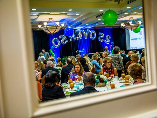 Attendees greet each other during the third annual Naples Daily News 25 Over 50 presentation at the Hilton Naples on Wednesday, Nov. 29, 2017.