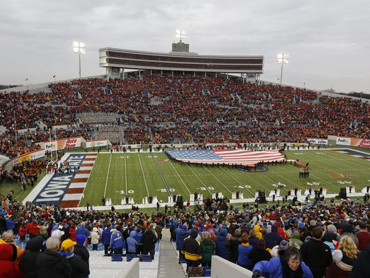 Cyclones fans fill the stands at the 2012 Liberty Bowl