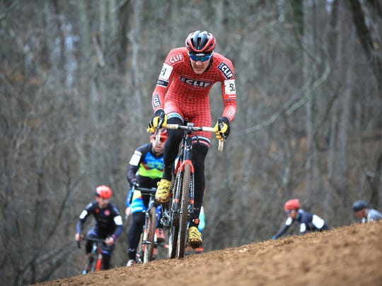 Cyclists compete in the men's elite/pro division races at the USA Cycling Cyclo-Cross National Championships Jan. 10, 2016 at the Biltmore Estate in Asheville.