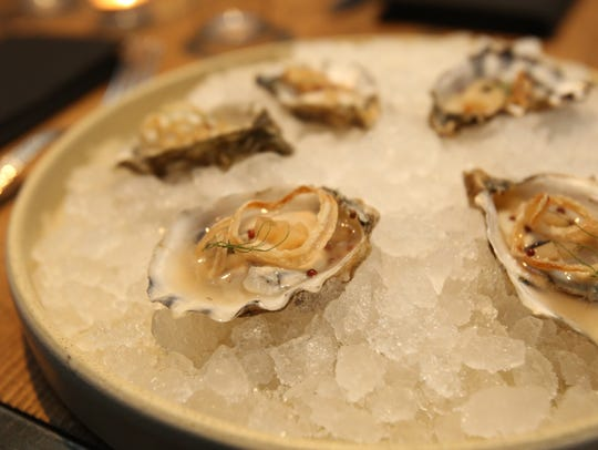 Dressed Oysters with pickled pear mignonette and fried