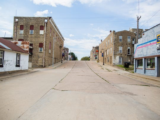 Quiet streets on a Saturday afternoon in Onaga, Kan.