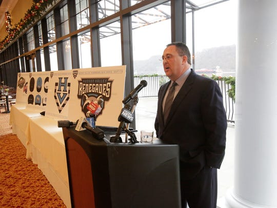 Steve Gliner, president of the Hudson Valley Renegades unveiled a whole new set of logos for the team during a press conference at the Grandview in Poughkeepsie on Dec. 5, 2017.