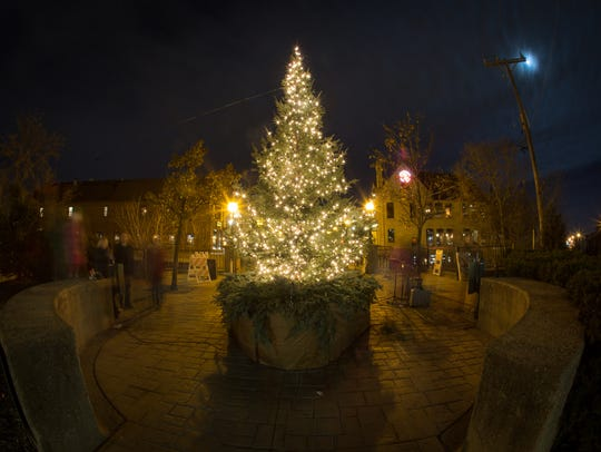 The holiday tree is the centerpiece of the lights displayed in the Wauwatosa Village.