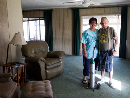 "After anxiously waiting for Hurricane Irma to pass, Ron and Brigitte Wilcox returned to only remnants of their home in Naples Estates, a mobile home community off Rattlesnake Hammock Road in East Naples. ""The roof ripped off of it, and then it rained for two days,"" said Ron Wilcox. ""If it wasn't for the church, I'd been sleeping in my car."" The couple attends Parkway Life Church of God and received help from the congregation."