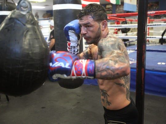 UFC fighter Cub Swanson prepares for his December 9, 2017 against Brian Ortega in Fresno, California. In this photo, he works on his standup game at the Indio Boys and Girls Club.