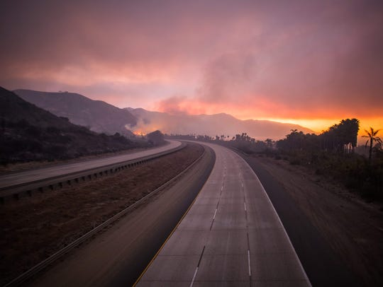 The 101 Highway after the Thomas Fire jumped the road