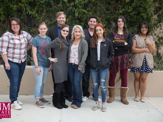 New Mexico State University Carlsbad Fine Arts Publication Class Students, Elizabeth Simonton, Kelsey Fanning, Quay Dominguez, Shyla Rodriguez, Dustin Camp, Heather McGee, Alex Ramirez, Dustin Camp, Kimberly Vasquez, Savannah Kelly-Bateman, Michael Dichiora, Josiah Garavito, Sara Williamson,Liana Swarengin, along with professors, Zane Biebelle and Tiffany Pascel held the Loud Creation Launch Party on Dec. 8 at NMSU Carlsbad. Music, Food, and readings from the students were held.