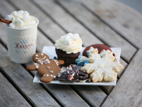 Hot cocoa, cupcakes and cookies are available at  Mrs. Claus Cafe at Congress Hall's winter market.