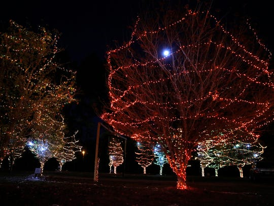 The light display at the 10th annual Allison Christmas Spectacular, pictured Dec 9, features more than 200,000 lights dancing along to Christmas carols. The family starts putting up lights the first week of August.