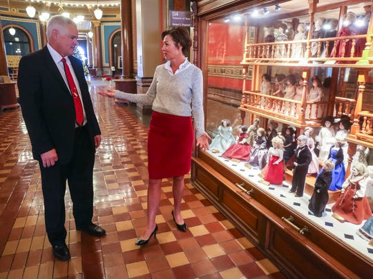 First Spouse Kevin Reynolds and Iowa Gov. Kim Reynolds look at the new doll unveiled with the face of First Spouse Kevin Reynolds, not former First Lady Billie Ray during a ceremony Wednesday, Dec. 20, 2017, at the Iowa Statehouse in the First Doll Display Case.The display case was unveiled on Dec. 28, 1976. Reynolds will be the fifth doll added since the displayÕs inception.The public is invited to attend the doll unveiling. First spouse Reynolds was joined by Capitol tour guide Joan Arnett for the event.