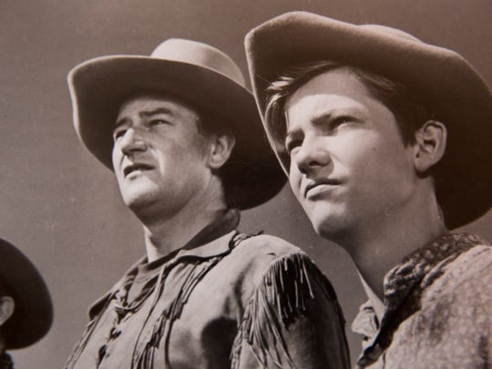 Mickey Kuhn, right, on set with the one and only John Wayne during the filming of Red River in 1948. Kuhn, now 85, gained widespread recognition for his role in 1939's Gone With the Wind as a six-year-old boy. Kuhn would go on to have a lengthy career during Hollywood's Golden Age up until the late 1950's acting in 30-plus films including A Streetcar Named Desire, Red River, and Broken Arrow.
