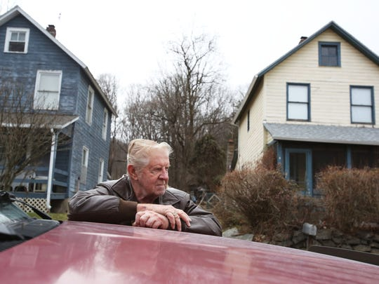 Robert Heddy, a resident of his home (pictured at right) for over 50 years, talks about the eviction notice he received, Dec. 22, 2017 in the Hamlets of Ramapo. The Town of Ramapo issued the tenants of the 15 occupied homes eviction letters in late September, giving them until Nov. 30.