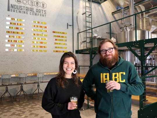 Industrial Arts Brewing Company general manager Sofia Barbaresco and founder Jeff O'Neil at the brewery in Garnerville