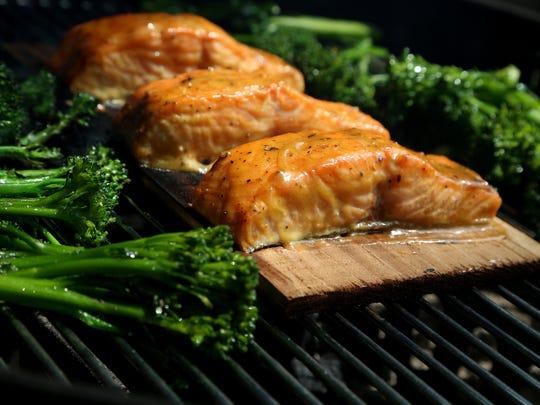 Cedar Plank Dijon Salmon with Broccolini on the grill