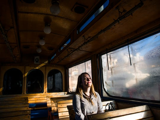 3 p.m. Ashley Collins enjoys the Naples Trolley on Thursday, January 4, 2017 in Naples.
