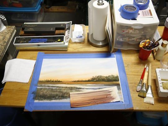 Work in progress in Sandy Proctor's home studio Dec
