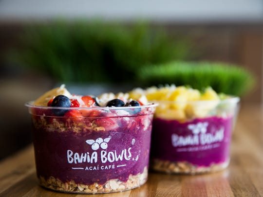 The Bahia Bowl and Pitaya Bowl at Bahia Bowls, an açaí cafe that makes smoothies and fruit bowls, in Estero on Monday, Jan. 8, 2018.