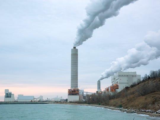 The We Energies Oak Creek Power Plant on Lake Michigan.