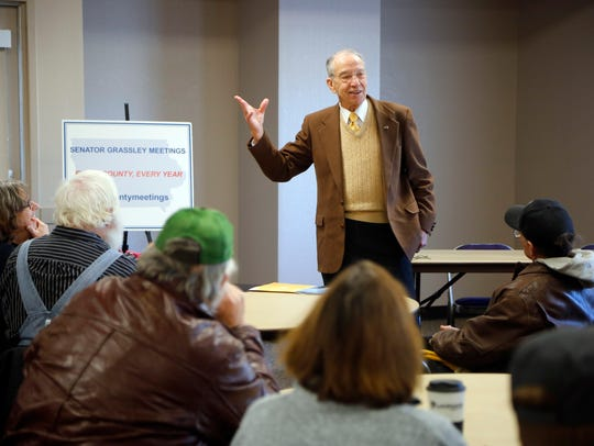 Sen. Chuck Grassley R-Iowa, holds a town meeting in Logan, Iowa, on Friday, Jan. 12, 2018.