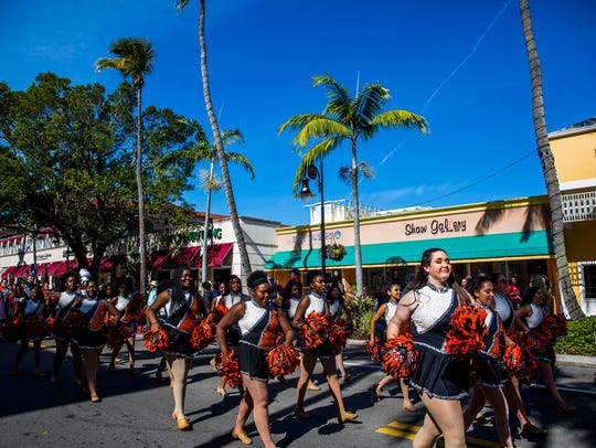 Lely High School marching band performs during the