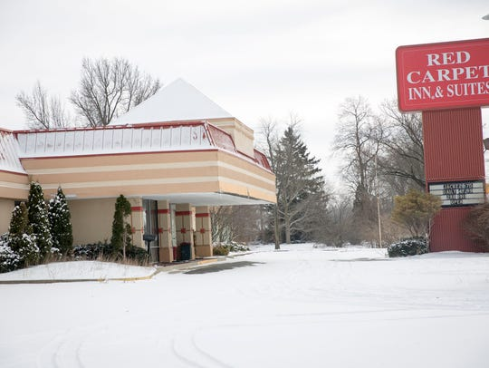 The snow covered lots of the former Red Carpet Inn