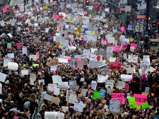 Thousands marched along 42nd St. in New York City during