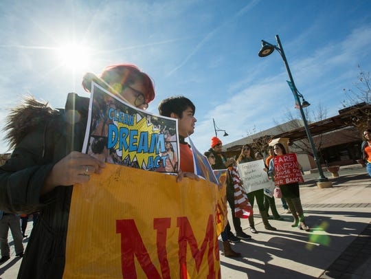 A group made up of members of the New Mexico Dream Team and United We Dream marched downtown to the offices of both Sen. Martin Heinrich and Sen. Tom Udall to thank them for voting no on the spending bill that did not have any provisions for DACA recipents, Friday January 19, 2018.