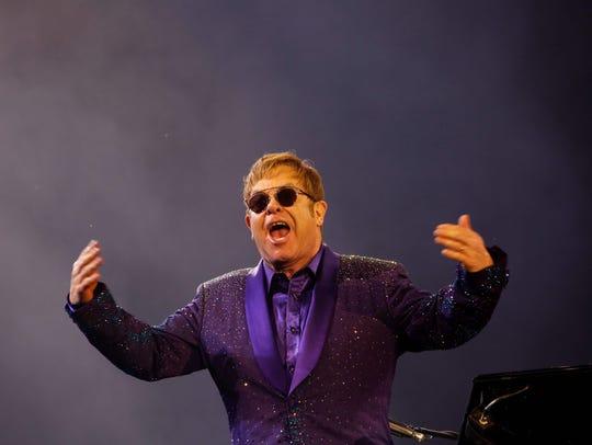 Sir Elton John performing in Tel Aviv on May 26, 2016.